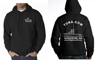 Black sweatshirt with boat logo