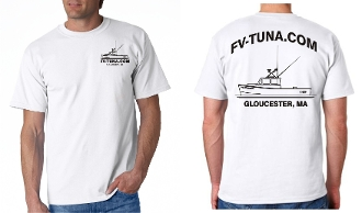 White t-shirt with boat logo