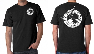Black t-shirt with tuna logo