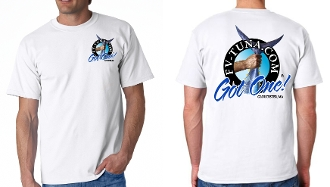 White t-shirt with full color logo