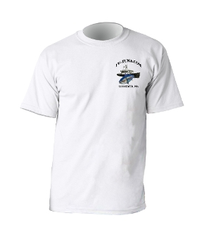 White t-shirt with tuna.com logo